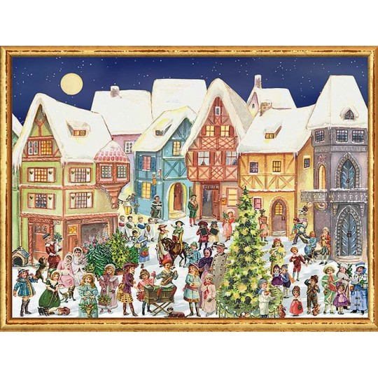 "Colorful Victorian Village Advent Calendar ~ 14-1/4"" x 10-1/2"""