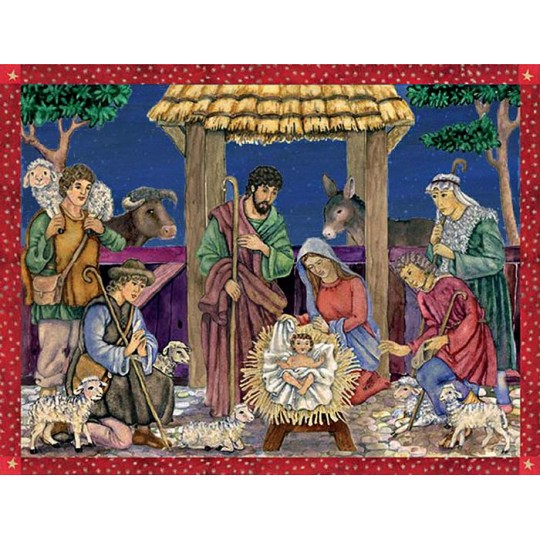 "Nativity Manger Scene German Advent Calendar ~ 13-3/4"" by 10-1/2"""