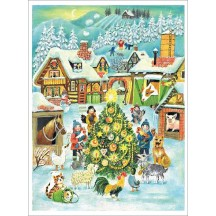 "Children with Tree and Animals Paper Advent Calendar ~ 14"" x 10-1/2"""