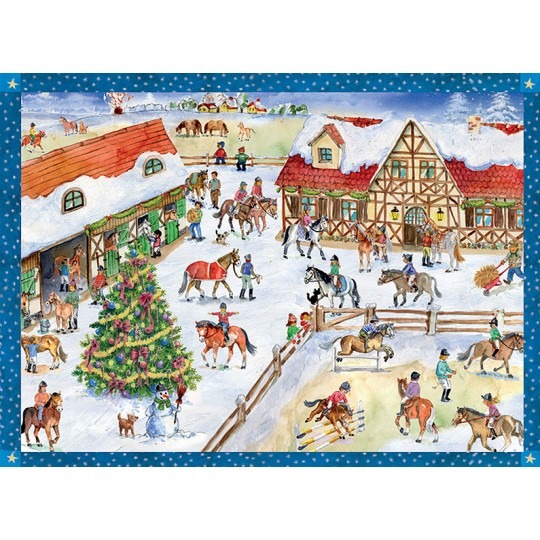 "Christmas at the Pony Farm Paper Advent Calendar ~ 13-3/4"" x 10-1/2"""