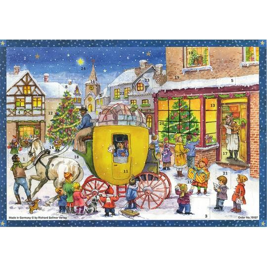 "Christmas Stagecoach Paper Advent Calendar ~ 13-3/4"" x 10-1/2"""