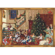 "Christmas Eve Victorian Family Paper Advent Calendar ~ 14"" x 10"""