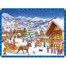 "Christmas at Village Square Paper Advent Calendar ~ 14"" x 10"""