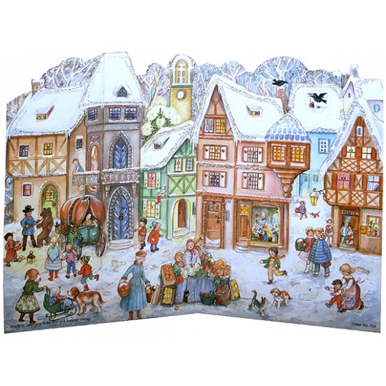 Standing Snowy Village Square Paper Advent Calendar