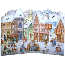 Standing Snowy Village Square Paper Advent Calendar