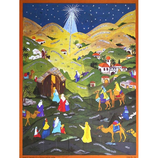 "Colorful Manger Vintage Style Advent Calendar ~ Bible Verses ~ 14"" x 10-3/4"""