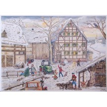 "Tractor and Snowy Farm Advent Calendar ~ 14-1/2"" x 10-1/4"""