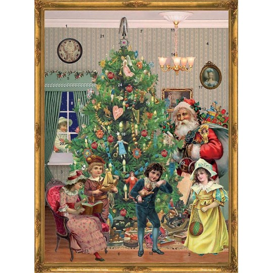 "Tree and Children Victorian Style Advent Calendar ~ 14"" x 10"""