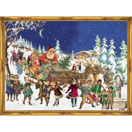 """Santa's Arrival Victorian Style Advent Calendar ~ 14"""" x 10"""""""