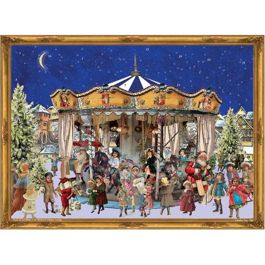 """Christmas Carousel Victorian Style Advent Calendar ~ 14"""" x 10"""""""