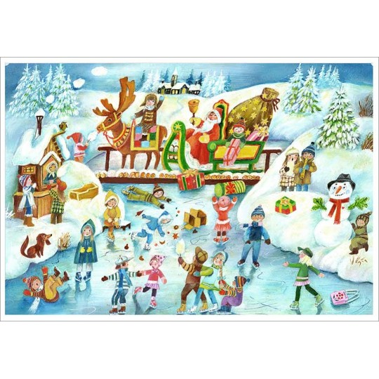 "Santa and Ice Skating Children Paper Advent Calendar ~ 14"" x 10-5/8"""