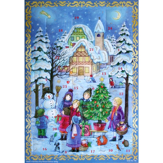 Children with Snowman Vintage Style Advent Calendar