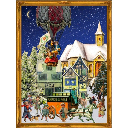 "Hot Air Balloon Victorian Style Advent Calendar ~ 14"" x 10"""