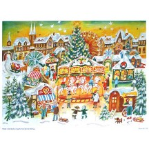 Colorful Christmas Market German Advent Calendar
