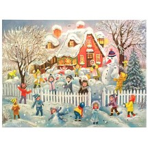"Colorful Children with Snowman Paper Advent Calendar ~ 14"" x 10-1/2"""
