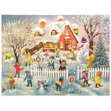 "Colorful Children with Snowman Paper Advent Calendar ~ 14"" x 10-1/2"""