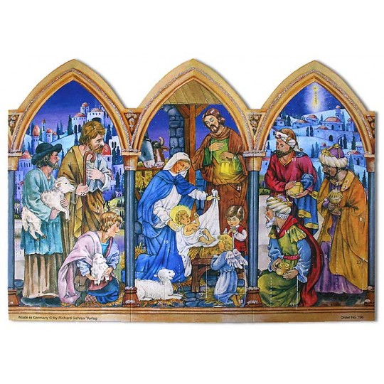 Triptych Manger Scene Standing Advent Calendar ~ New for 2012