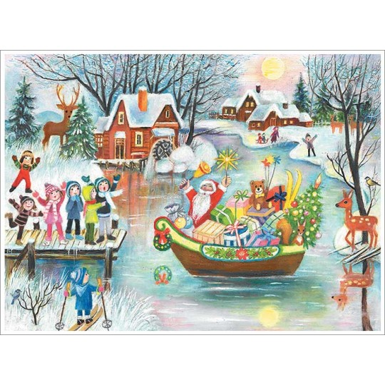 "Santa in Boat Paper Advent Calendar ~ 14"" x 10-5/8"""