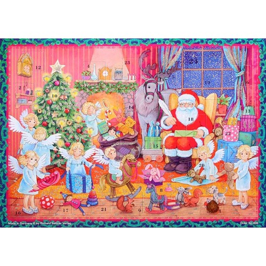"Santa and Angels Preparing for Christmas Colorful Paper Advent Calendar ~ 11-1/2"" x 8-1/4"""