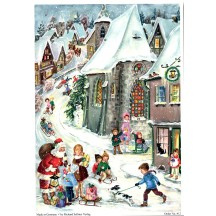 "Christmas Village with Santa Vintage Style German Advent Calendar ~ 8-1/4"" by 11-5/8"""
