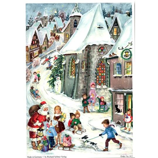 "Christmas Village with Santa Vintage Style German Advent Calendar ~ 8-1/4"" by 11-5/8"""