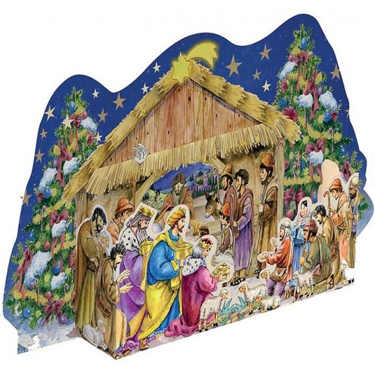 Pop-Out Colorful Christmas Manger Standing Advent Calendar