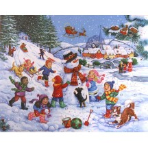 Children with Snowman Advent Calendar ~ England