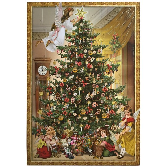 "Angels Decorating the Tree Advent Calendar ~ 16-1/2"" x 11-3/4"""