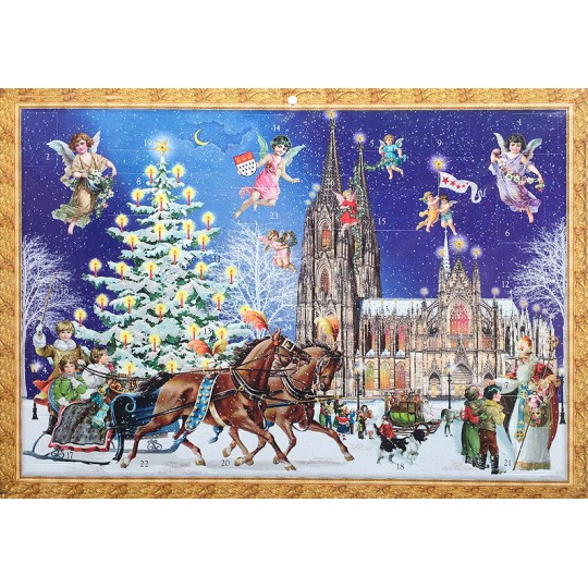 "Koln Christmas with Sleigh Advent Calendar ~ 16-1/2"" x 11-3/4"""