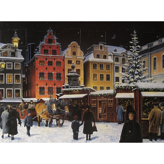 "Swedish Christmas Market Advent Calendar from Sweden ~ 13-1/4"" x 10"""