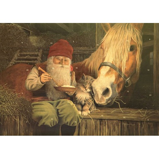 "Tomte Gnome with Horse and Cat Advent Calendar from Sweden ~ 13-1/4"" x 10"""