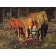 "Tomte Gnome Feeding Horses Advent Calendar from Sweden ~ 13-1/4"" x 10"""