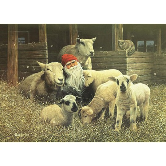 """Tomte Gnome with Lambs Advent Calendar from Sweden ~ 13-1/4"""" x 10"""""""