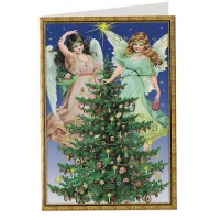 Angels Christmas Tree Advent Calendar Card ~ Germany