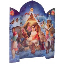 "Large Nighttime Nativity Standing Advent Calendar from Spain ~ 16-1/2"" tall"
