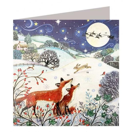 Christmas Country Foxes Advent Calendar Card ~ England