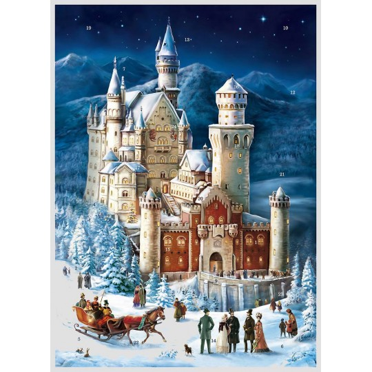 """Christmas in Schloss Neuschwanstein Advent Calendar ~ 16-1/2"""" x 11-1/2"""""""
