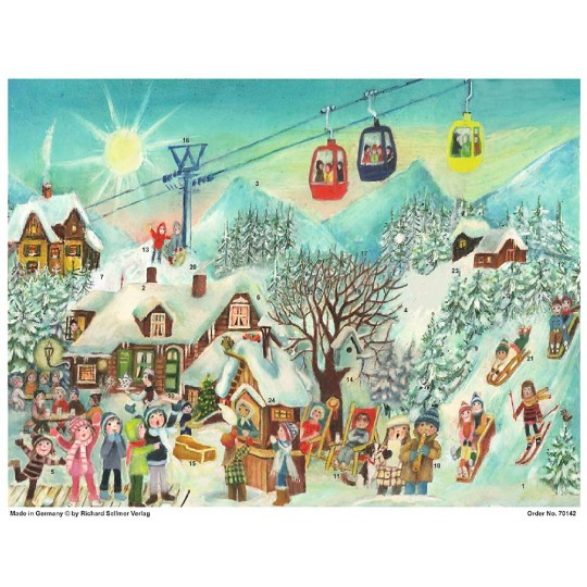 "Colorful Ski Slope Paper Advent Calendar ~ 14"" x 10-1/2"""