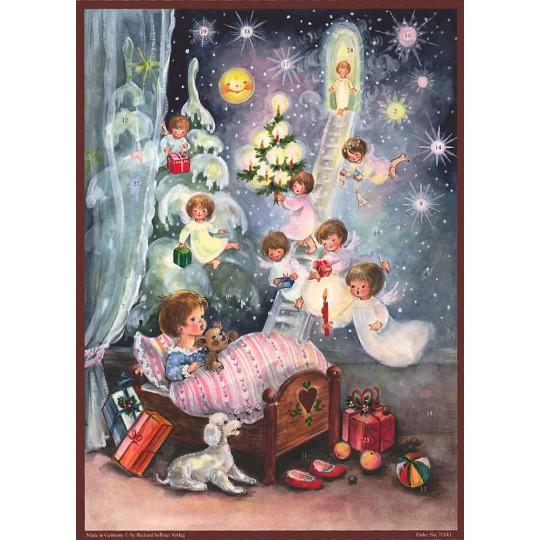 "Christmas Angels Paper Advent Calendar ~ 14"" x 10-1/2"""