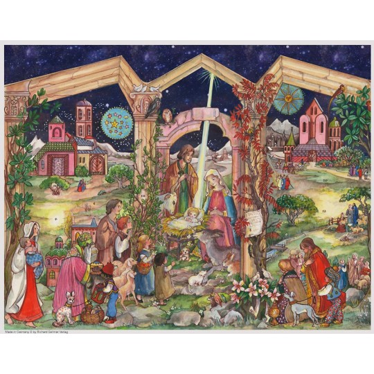 "Nativity Manger Scene German Advent Calendar ~ 14"" by 10-1/2"""