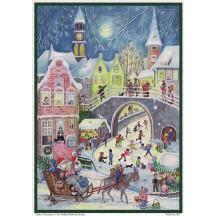 "Village Skating Paper Advent Clendar ~ 10-1/2"" x 8-1/2"""