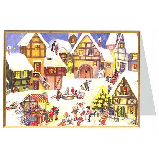 Snowy Village Square Christmas Card ~ Germany