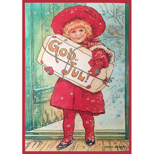 "Christmas Girl with Gifts Paper Advent Calendar ~ 8-1/4"" x 11-5/8"" ~ Jenny Nystrom"