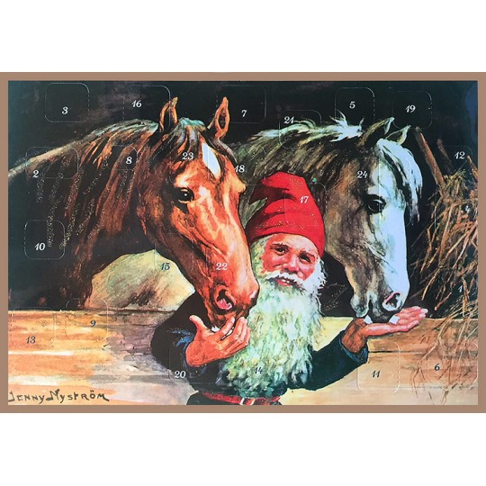 "Tomte Gnome with Horses Paper Advent Calendar~ 11-5/8"" x 8-1/4"" ~ Jenny Nystrom"