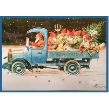 "Tomte Gnomes in Truck Advent Calendar ~ 11-5/8"" x 8-1/4"" ~ Jenny Nystrom"