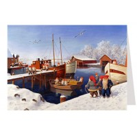 """Tomte Gnomes in the Harbor Advent Calendar Card from Sweden ~ 6-3/4"""" x 4-1/2"""""""