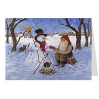 """Tomte Gnome with Snowman Advent Calendar Card from Sweden ~ 6-3/4"""" x 4-1/2"""""""