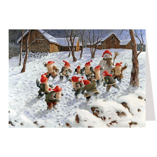 "Tomte Gnome Snowball Fight Advent Calendar Card from Sweden ~ 6-3/4"" x 4-1/2"""