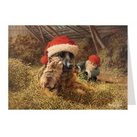"""Tomte Gnome with German Shepherd and Cat Advent Calendar Card from Sweden ~ 6-3/4"""" x 4-1/2"""""""