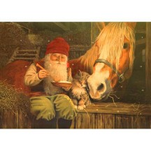 "Tomte Gnome with Horse and Cat Advent Calendar from Sweden ~ 11-5/8"" x 8-1/4"""